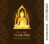 vesak day banner card with gold ... | Shutterstock .eps vector #1292788363