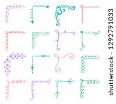 hand drawn set of corner with... | Shutterstock .eps vector #1292791033