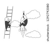 one person uses the ladder and... | Shutterstock .eps vector #1292792080