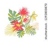 tropical flower composition ... | Shutterstock . vector #1292803870