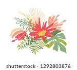 tropical hand drawn flower leaf ... | Shutterstock . vector #1292803876