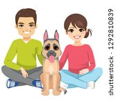young couple with pet new... | Shutterstock .eps vector #1292810839