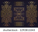 set of vector art deco golden... | Shutterstock .eps vector #1292811043