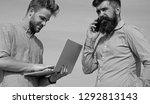 business team works outdoor ... | Shutterstock . vector #1292813143