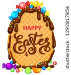 happy easter waffle egg in... | Shutterstock .eps vector #1292817856