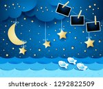 surreal seascape by night with... | Shutterstock .eps vector #1292822509