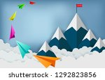 paper plane are flying to the... | Shutterstock .eps vector #1292823856