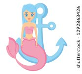 mermaid and anchor design | Shutterstock .eps vector #1292863426