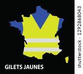 yellow vest  france map  gilets ... | Shutterstock .eps vector #1292868043