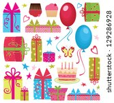 colorful birthday party set | Shutterstock . vector #129286928