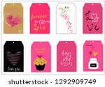 a set of 8 valentine day cute...   Shutterstock .eps vector #1292909749