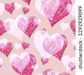 watercolor pink peony heart... | Shutterstock . vector #1292929099