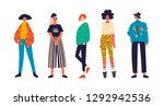 five girls dressed in trendy... | Shutterstock .eps vector #1292942536