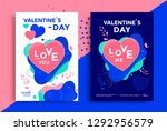 Stock vector valentines day poster or flyer design with texturing heart and fluid shapes vector illustration 1292956579