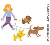 Stock vector the walking girl with three dogs vector illustration cartoon style lovely hand drawn image 1292980999