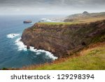 Aerial view to Mosteiros city over fields, San Miguel, Azores, Portugal - stock photo