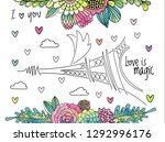 floral love background with...   Shutterstock . vector #1292996176