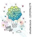 hand drawn aerostat with...   Shutterstock . vector #1292996179
