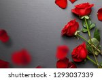 red roses background with... | Shutterstock . vector #1293037339