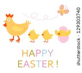 cute easter card with chicken... | Shutterstock . vector #129303740