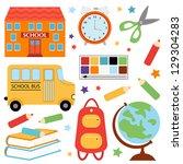 colorful school set   Shutterstock . vector #129304283