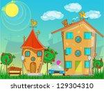 cartoon street | Shutterstock .eps vector #129304310