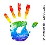 Rainbow Painted Hand Shape...