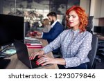 businesswoman working on laptop ... | Shutterstock . vector #1293079846