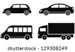 transport set of black cars on... | Shutterstock .eps vector #129308249
