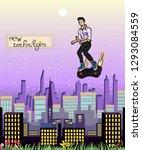man flies over the modern city... | Shutterstock .eps vector #1293084559