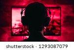 woman wearing headphones... | Shutterstock . vector #1293087079