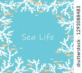 white coral and school of ocean ... | Shutterstock .eps vector #1293088483