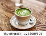 matcha latte green milk foam... | Shutterstock . vector #1293089503