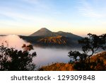 beautiful view in bromo tengger ... | Shutterstock . vector #129309848