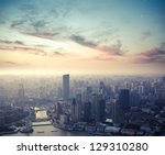 a bird's eye view of shanghai... | Shutterstock . vector #129310280