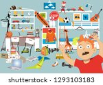 boy in a stuffed room with too...   Shutterstock .eps vector #1293103183