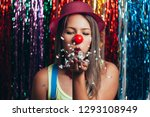 a female clown with colorful... | Shutterstock . vector #1293108949