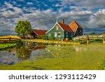 zaandam  holland  an old mill... | Shutterstock . vector #1293112429