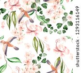 watercolor pattern with spring... | Shutterstock . vector #1293116149