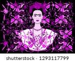 frida kahlo vector portrait  ... | Shutterstock .eps vector #1293117799