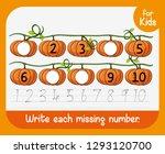 write each missing number... | Shutterstock .eps vector #1293120700