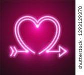 heart and arrow neon design | Shutterstock .eps vector #1293129370