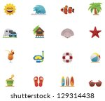 vector summer beach and seaside ... | Shutterstock .eps vector #129314438