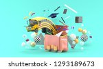 the school bus floats out of... | Shutterstock . vector #1293189673