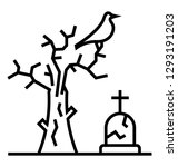 scary graveyard  line icon... | Shutterstock .eps vector #1293191203