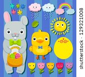 happy easter set with bunny ... | Shutterstock .eps vector #129321008