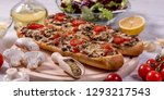 tasty pizza baguette with... | Shutterstock . vector #1293217543