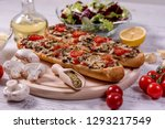 tasty pizza baguette with... | Shutterstock . vector #1293217549