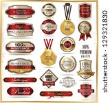 luxury gold and red labels | Shutterstock .eps vector #129321830