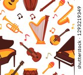 musical instruments flat icons... | Shutterstock .eps vector #1293219349